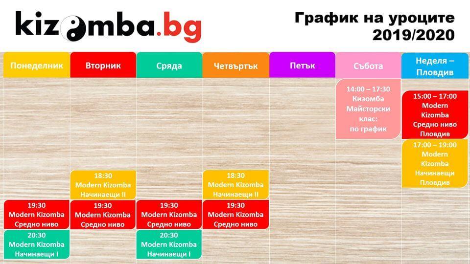 kizomba.bg график на уроците по танци в София и Пловдив